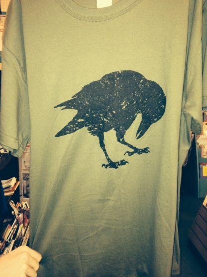 Crow T Shirt army green black oak
